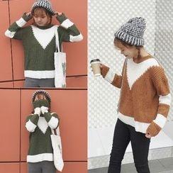 AMELA - 插色粗織毛衣