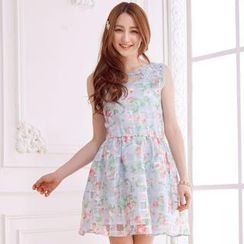 Tokyo Fashion - Sleeveless Beaded Floral Tulle Check Dress