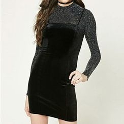 Richcoco - Velvet Strap Dress