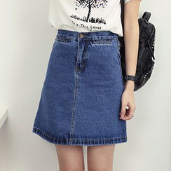 Honey House - High-Waist Denim A-Line Skirt