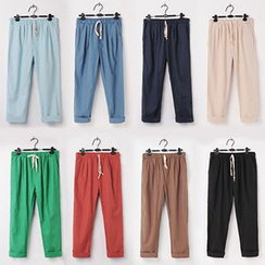 Fireon - Drawstring Baggy Cropped Pants
