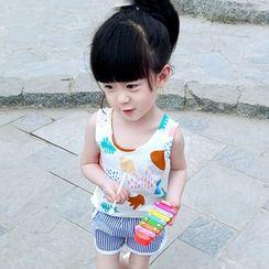 CUBS - Kids Set: Printed Tank Top + Striped Sweat Shorts