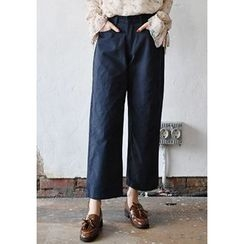 GOROKE - Band-Waist Wide-Leg Cotton Pants
