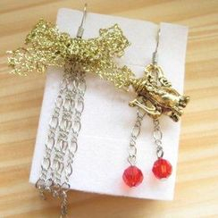 Fit-to-Kill - Hand made Golden ribbon and tea pot with red Swarovski crystal earrings
