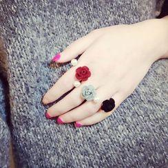 嘀咕家 - 仿珍珠花樣開口戒指