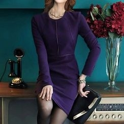 Eleganza - Piped Long Sleeve Sheath Dress