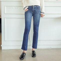 Seoul Fashion - Fray-Hem Semi Boot-Cut Jeans