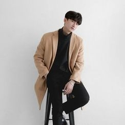 Seoul Homme - Notched-Lapel Single-Breasted Coat