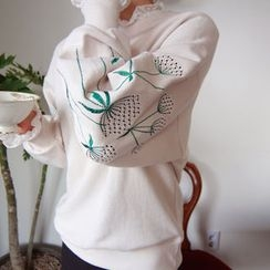 LEELIN - Floral Embroidered Sweatshirt