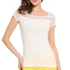 camikiss - Lace Panel Short-Sleeve T-Shirt