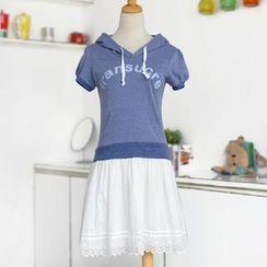 59 Seconds - Mock Two-Piece Lettering Hood Dress