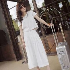 Ringnor - Set: Slit-Back Sequined Top + Maxi Skirt