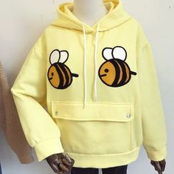 DIYI - Bee Embroidered Rabbit Ear Hooded Jacket