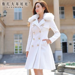 Dabuwawa - Double-Breasted Faux-Fur Collar Coatdress