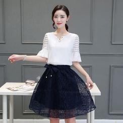 EFO - 套裝:荷葉雪紡襯衫 + A字裙