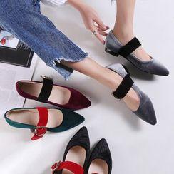幸福鞋坊 - 植毛絨平跟鞋