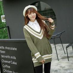 Sienne - Contrast Trim V-Neck Ribbed Sweater