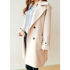 J-ANN - Wide-Collar Double-Breasted Long Jacket