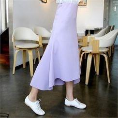 clicknme - Asymmetric-Hem Maxi Skirt