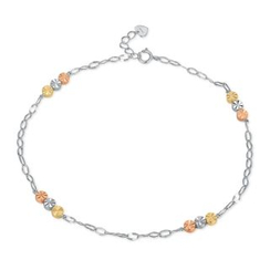 MaBelle - 14K Tri-Color White Yellow Rose Gold Triple Dots Anklet  (23cm)