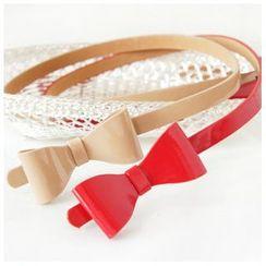 Goldenrod - Patent Bow Skinny Belt