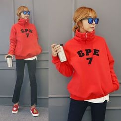 DANI LOVE - High-Neck Letter Embroidered Pullover