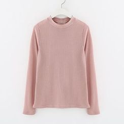 Meimei - Bow Back Long Sleeve Ribbed T-Shirt