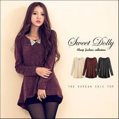 Sweet Dolly - Long-Sleeve Dip-Back Wool Blend Top