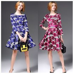 Elabo - Floral 3/4-Sleeve A-Line Dress