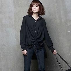 HALUMAYBE - Dip-Back Chiffon Shirt