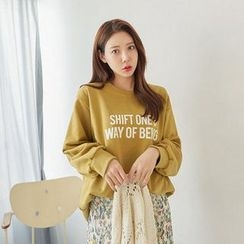 Seoul Fashion - Round-Neck Lettering Pullover