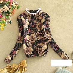 Clementine - Frill Trim Floral Print Fleece-lined Sweatshirt