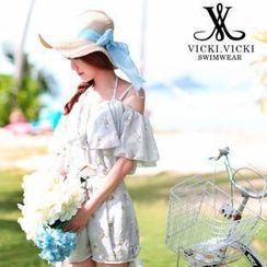 Vicki Vicki - Set: Halter Floral Print Bikini Set + Shorts