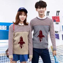 Je T'aime - Couple Matching Rocket Stripe Panel Knit Top