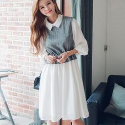 Dowisi - Mock Two Piece Striped Panel Collared 3/4 Sleeve Dress