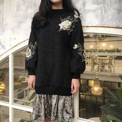 Bloombloom - Flower Embroidered Fleece Pullover Dress