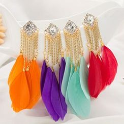 Sunset Hours - Feather Drop Earrings