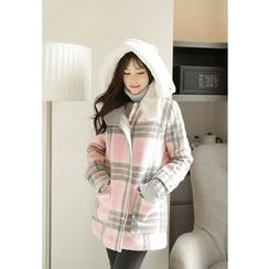 MyFiona - Hooded Checked Coat