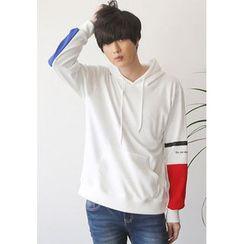 PLAYS - Color-Block Sleeve Hoodie T-Shirt
