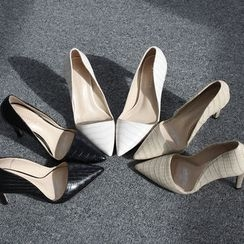 DANI LOVE - Pointy-Toe Croc-Grain Pumps