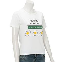 Kikiyo - 短款袖印花 T 恤