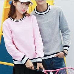 Bay Go Mall - Couple Matching Letter Embroidered Pullover
