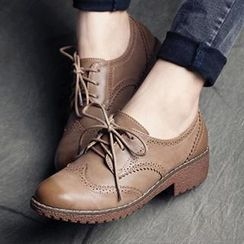 MIAOLV - Stitched Lace-up Flat Oxford Shoes