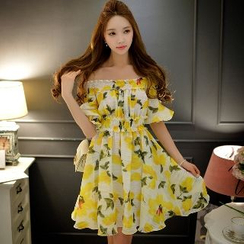 Dabuwawa - Short-Sleeve Off-Shoulder Printed Dress