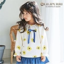 LILIPURRI - Girls Frill-Cuff Beribboned Floral Top