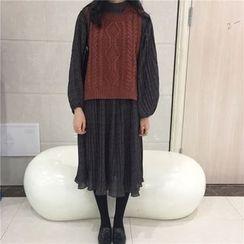 MePanda - Puff-Sleeve Patterned Midi Chiffon Dress