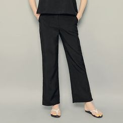 HOTPING - Flat-Front Slit-Side Pants
