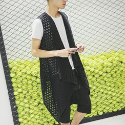 Bay Go Mall - Set: Perforated Mesh Jacket + Short-Sleeve Top