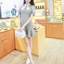 Athena - Short-Sleeve Bow-Accent Dress