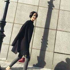 DOUX - Mock-Neck Slit-Hem Paneled Long Sweater